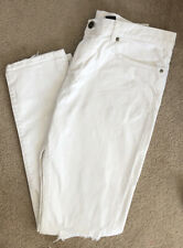 H&M White Ripped Jeans Relaxed Skinny Tapered Leg 34