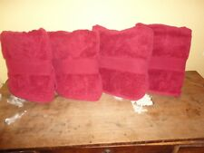 DILLARDS NOBILITY RED SOLID (4PC) SET BATH TOWELS 27 X 45 100% SUPIMA COTTON