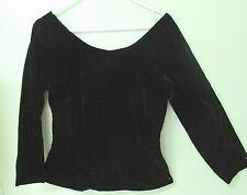 """Vintage 1950'S Ladies Scoop Neck Black Velvet Top / Side Metal Zipper / 36"""" Bust"""