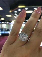 2.50 Ct Excellent Round White Moissanite Halo Engagement Ring 14k White Gold FN
