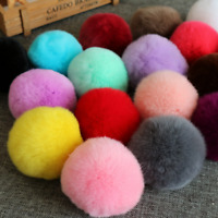 5Pcs Fake Rabbit Fur Pompom Keychain For Women Bag Fluffy Soft Ball Key Pendant
