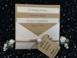 VINTAGE, RUSTIC,SHABBY CHIC,IVORY LACE, PEARL, BROWN CRAFT WEDDING INVITATION