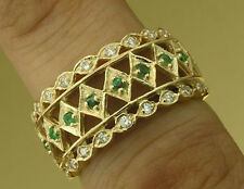R105- WIDE 9ct SOLID Gold Natural Diamond & Emerald BAND Ring Anniversary size N