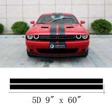 "2Pcs 9""x60"" Black Carbon Fiber Vinyl Racing Stripes Waterproof For Car Truck SUV"