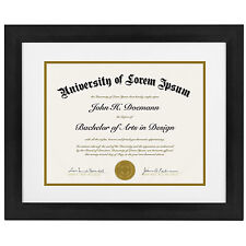 Black Document Frame - Made to Display Certificates sized 8.5x11 Inch with Mat