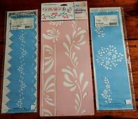 STENCIL ART CRAFT PAINTING LOT OF 3 - BOARDERS, EDGES, FLORALS NEW