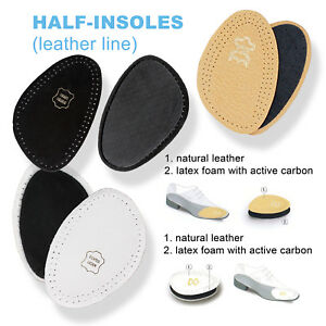 LEATHER SHOE INSOLES HALF- INSERTS FOR MEN & WOMEN - BLACK & WHITE - All SIZES