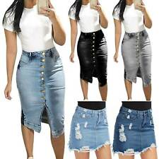 Women Denim Jeans Skirt High Waist Pencil Bodycon Button Midi Dress Plus