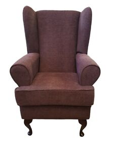 """Orthopedic high back chair, 21"""" seat, chocolate brown chenille, basket weave"""