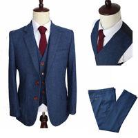 Men's Classic Tweed Wool Blend Suit 3 Piece Check Plaid Blue Herringbone Blazer