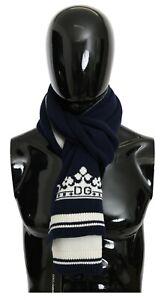 DOLCE & GABBANA Scarf Blue Cashmere Knitted Wrap Shawl 30cm x 180cm