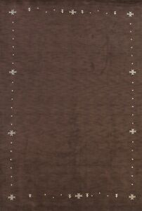 Contemporary Bordered Gabbeh Oriental Area Rug Wool Hand-knotted 8'x11' Carpet