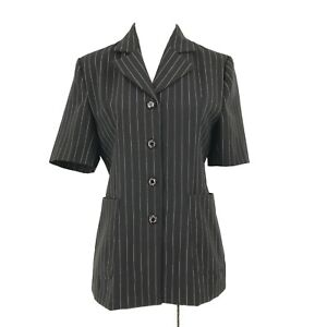Black Pinstriped Blazer Jacket Womens Small CUSTOM TAILORED Collared Pockets