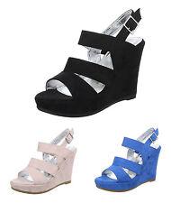 Elegante Damen-Sandalen mit Keilabsatz/Wedge-Kunstleder normale Weite (E)