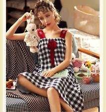 Women Cartoon Plaid Sleepwear Pajamas Sleeveless Nightwear Sleepshirt Sleepdress