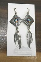 Authentic Vintage Southwest Sterling Silver Turquoise Onyx Dangle Earrings