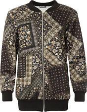 Plus Womens Floral Paisley Bomber Jacket Ladies Print Long Sleeve Zip Crew Neck