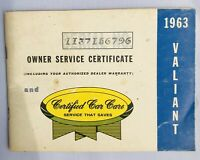 1963 Vintage VALIANT Owner Service Certificate Certified Car Care Booklet