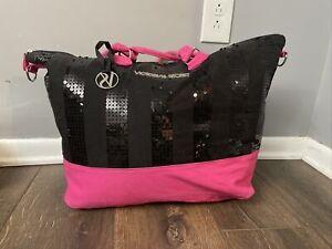 Victoria Secret Tote Hot Pink Black Sequin Sparkle Bling Weekend Travel Bag