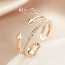 18K White & Rose Gold Filled Simulated Diamond Punk Adjustable knuckle Ring Set