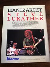 1983 VINTAGE 8.5X11 PRINT Ad IBANEZ GUITARS FEATURING ARTIST STEVE LUKATHER