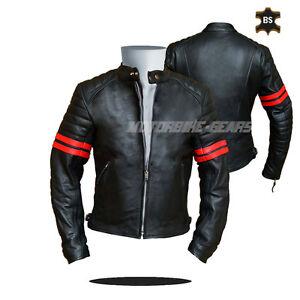 Cruiser leather jacket black leather jacket with red lining any size bargain