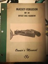 Massey Ferguson Mf38 Offset Wheel Disc Harrow Owners Manual Parts Date 1162