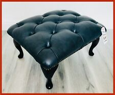 Chesterfield Buttoned Queen Anne Black Leather Footstool