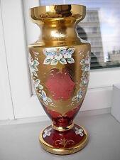 UNIQUE LUXURY BOHEMIAN CZECH  CRANBERRY GLASS VASE-03