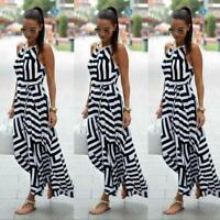 Evening Women Party stripe Sexy Summer Sundress Boho Long Dress Beach Maxi Dress