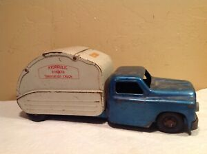 "1960s STRUCTO PRESSED STEEL TOY HYDRAULIC  SANITATION TRUCK 18 1/2"" LONG"