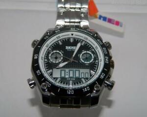 Skmei Men's Steel Bracelet Big Boy Combo Chronograph Alarm Black Dial watch ,Box