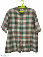 Vtg Banana Republic Mens Green Orange Plaid Short Sleeve Button Up Shirt Size L