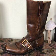 Vintage 1970's Dingo Brown Leather Boots With Brass Buckle Motorcycle Size 7D