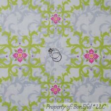 BonEful FABRIC FQ Cotton Quilt White Pink Damask Flower Baby Girl Nursery Sm Dot
