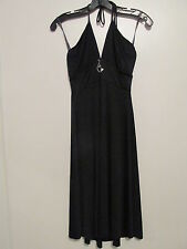 Baby Phat Black Halter Tie Knee Length Stretch Dress /w Crystal Cat SIZE:S