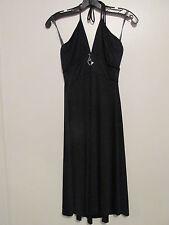 Baby Phat Black Halter Tie Knee Length Stretch Dress /w Crystal Cat SIZE:S