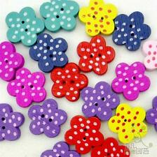 100pcs Mixed Polka Dots Flower Wood Buttons Lot 15x15MM Craft/kids Sewing