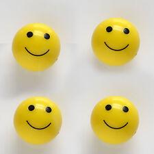 4 Car Truck Bike - YELLOW SMILE FACE BALL - Smily Tire / Wheel air valve Caps