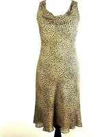 Ann Taylor Womens Petite 8P 100% Silk Leopard Animal Print Fit Flare Lined Dress
