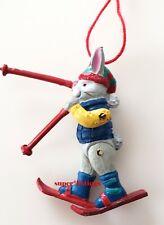 Dept. 56 Pewter Ornament Tiny Trimmings Skiing Rabbit Blue Sweater on Ski 88756