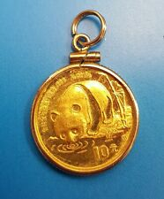 Genuine 24K 1987 CHINESE PANDA COIN SET IN 14K SOLID GOLD COIN PENDANT, 4.07 g