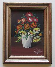 Blumenstrauß - kleines Bild mit Passepartout im Holzrahmen original