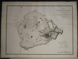 ASCENSION ISLAND 1826 DUPERREY UNUSUAL ANTIQUE ORIGINAL LITHOGRAPHIC SEA CHART