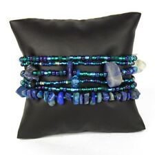 Br191-108 Blue Six Strand Bracelet Stones and Crystal Beads Hand Made Guatemala