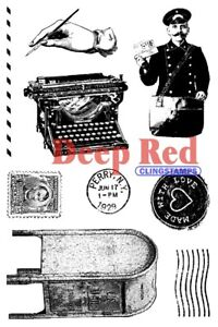 Deep Red Stamps Vintage Postal Rubber Cling Stamps