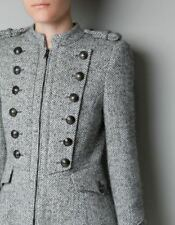 ZARA HERRINGBONE WOOL MILITARY COAT BUTTONS LONG SIZE L - Fits S or M Best NWT