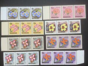RHODESIA 1974 WILD FLOWERS 8 MNH STRIPS OF 3 CAT £12+