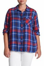 NWT TAGS FROM HAUTE LOOK ~ COMO VINTAGE BLUE/RED PLAID PLUS SIZE SHIRT 2X~RET$72