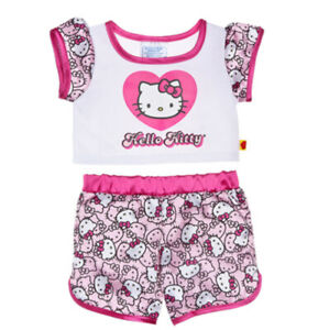 Retired Build A Bear Sanrio Hello Kitty Pink/White Satin Pajama Outfit Set.